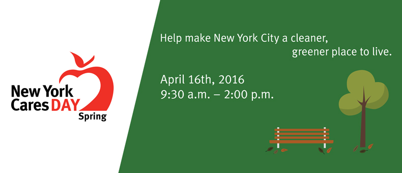 New York Cares Day Spring Details About the Day White and Green with Tree and Bench