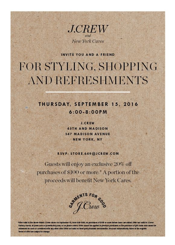 J.Crew shopping event invitation, September 15 from 6:00 to 8:00 PM