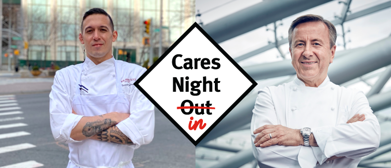 Cares Night In graphic in front of Chef Daniel Boulud and Chef Vincent Cortese