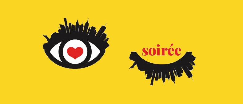 Soiree header. Illustration of eye with skyline eyelashes.