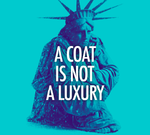 2020 Coat Drive Logo that reads 'a coat is not a luxury'