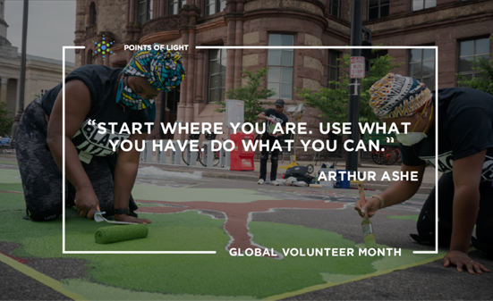 Global Volunteer Month graphic with quote from Arthur Ashe