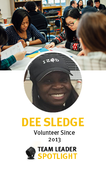 Dee Sledge is a New York Cares Team Leader, who's service is highlighted this month