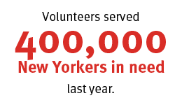 New York Cares served 400,000 New Yorkers in need a year ago through the power of volunteers.