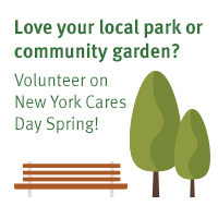 New York Cares Day Spring Love Your Local Park or Community Garden Trees and Bench
