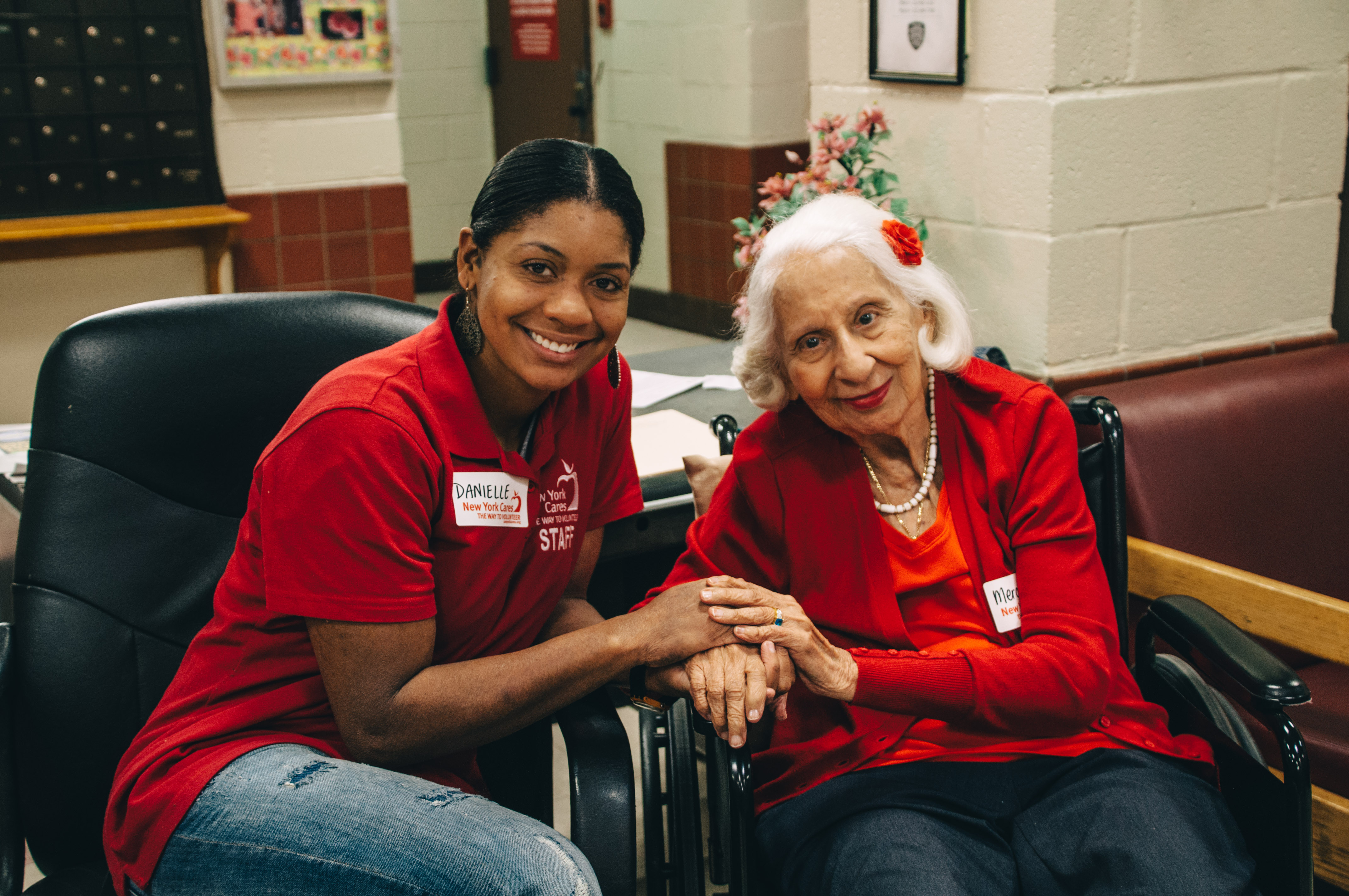 New York Cares staff member and elderly New Yorker