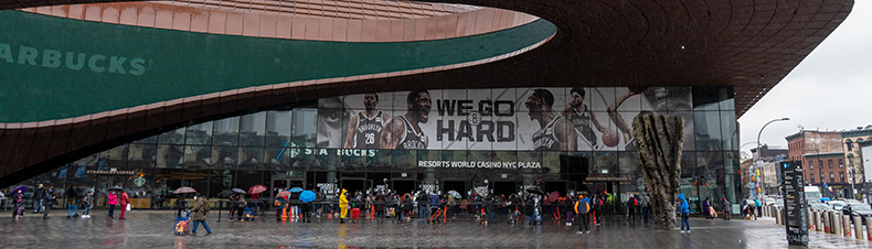 Line for food distribution at the Barclays Center in Brooklyn, NY
