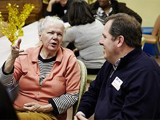 New York Cares Volunteer Seniors Elderly Woman Talking