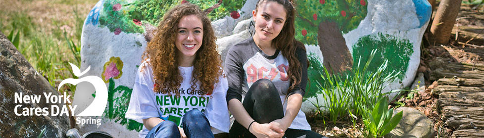 New York Cares Day Spring Volunteer for Environment in Parks and Garden Two Happy Women