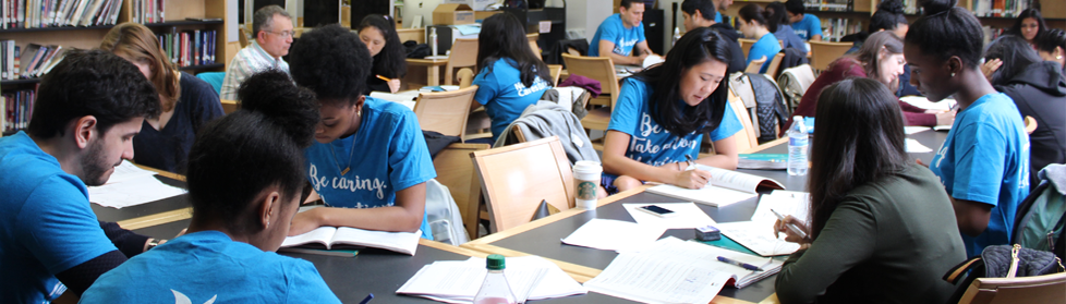 A group of students studying