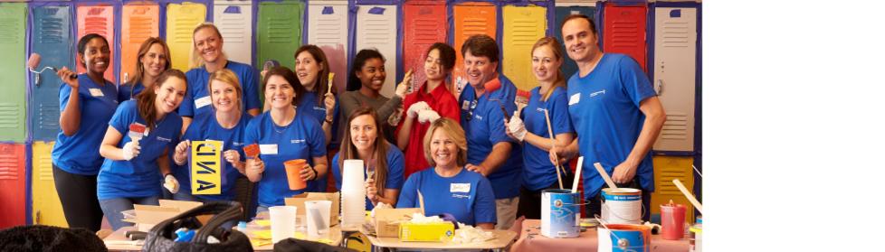 Group of volunteers at a school
