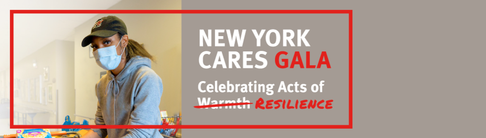 "A photo of a volunteer in a mask with the text ""New York Cares Gala, Celebrating Acts of Resilience"""